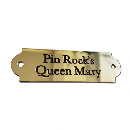 Mirror Polished Brass  Saddle Name plate 65 x 20 curved